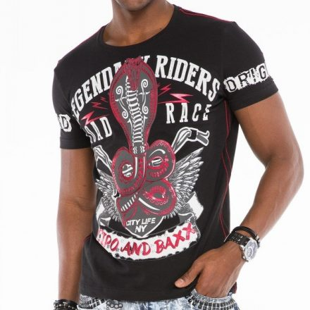 Cipo & Baxx divatos férfi póló CT482 Black