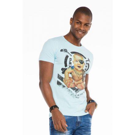 Cipo & Baxx fashionable men's T-shirt CT485lightblue