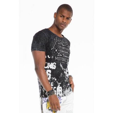 Cipo & Baxx divatos férfi póló CT506 BLACK