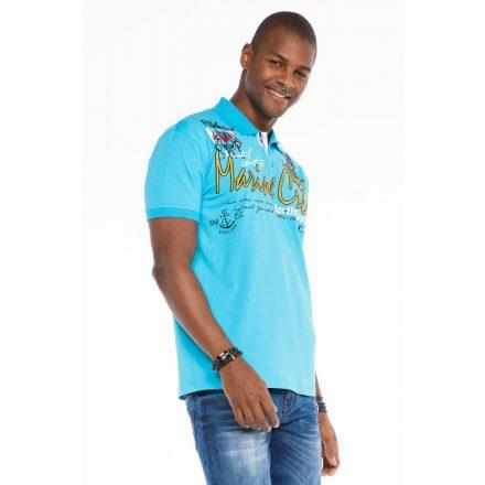 Cipo & Baxx divatos férfi póló CT509 Baby Blue