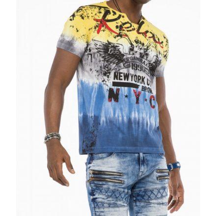Cipo & Baxx divatos férfi póló CT511 Yellow Blue