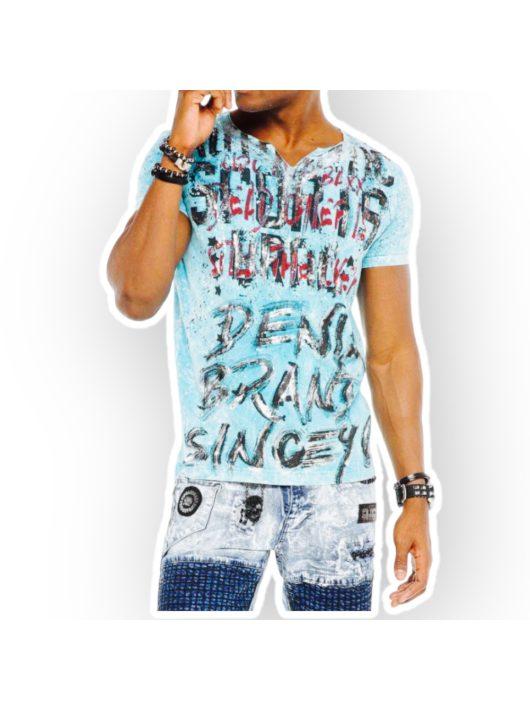 Cipo & Baxx divatos férfi póló CT514BABYBLUE
