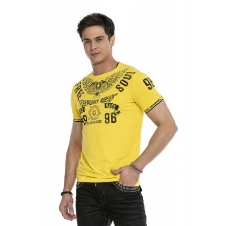 Cipo & Baxx divatos férfi póló CT520 Yellow