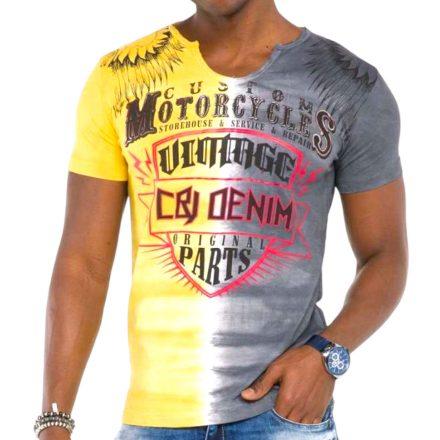 Cipo & Baxx divatos férfi póló CT526 Anthracite Yellow