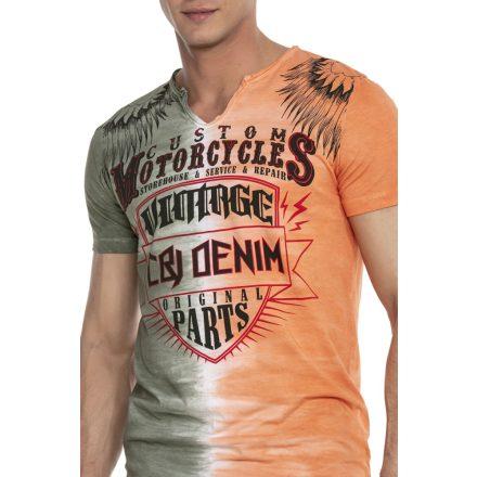 Cipo & Baxx divatos férfi póló CT526 Khaki Orange