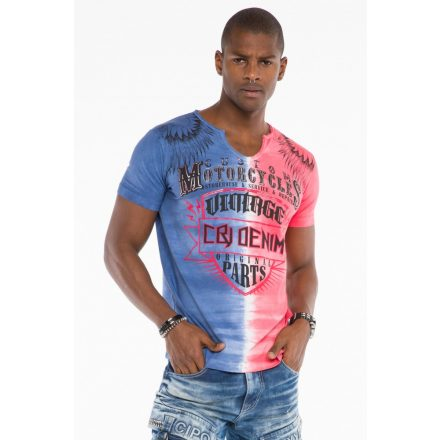 Cipo & Baxx divatos férfi póló CT526 Pink Blue