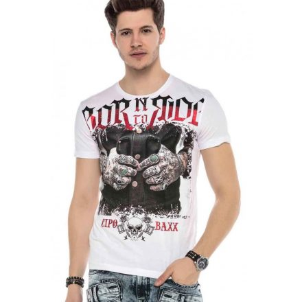 Cipo&Baxx divatos férfi póló CT542 White