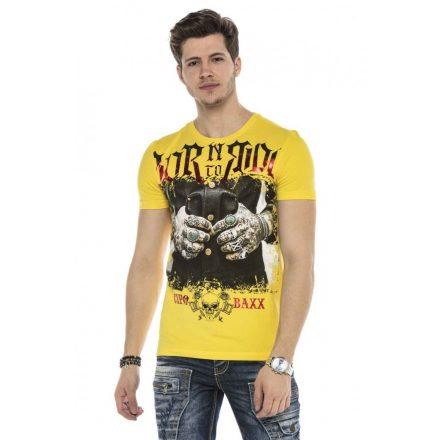 Cipo&Baxx divatos férfi póló CT542YELLOW