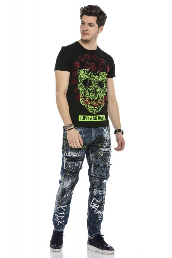 Cipo&Baxx divatos férfi póló CT545BLACK