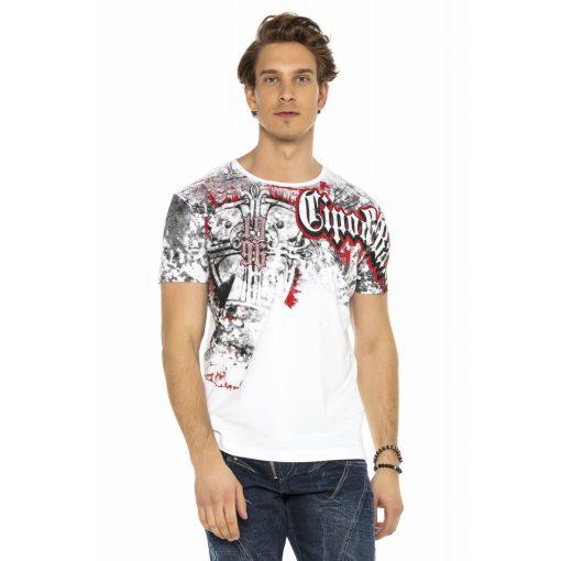 Cipo&Baxx divatos férfi póló CT549WHITE