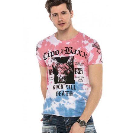 Cipo&Baxx divatos férfi póló CT558BLUE-PINK