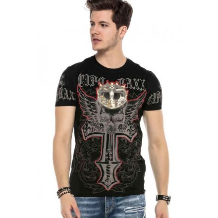 Cipo&Baxx divatos férfi póló CT567BLACK