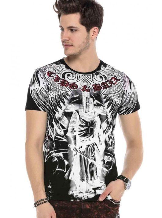 Cipo&Baxx divatos férfi póló CT568BLACK