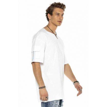 Cipo & Baxx divatos férfi póló CT586WHITE