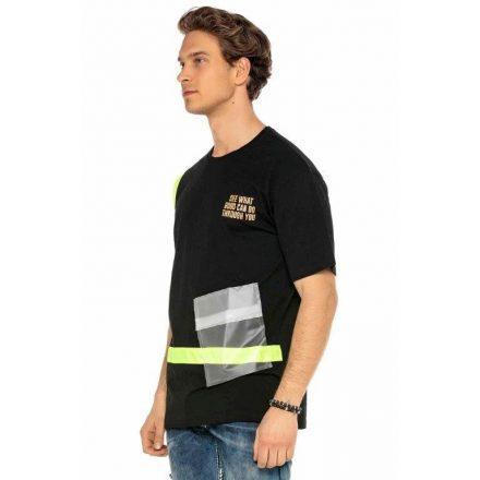 Cipo & Baxx divatos férfi póló CT587BLACK