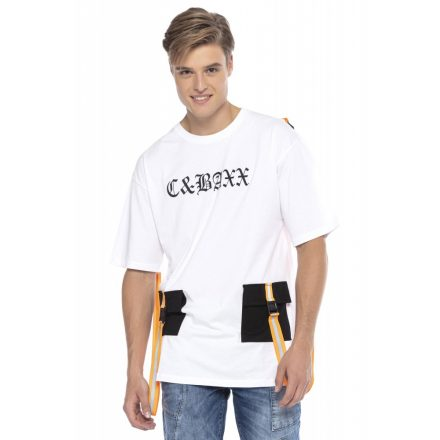 Cipo & Baxx divatos férfi póló CT589WHITE