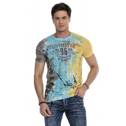 Cipo & Baxx divatos férfi póló CT619 Turquoise