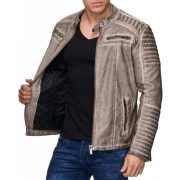 Fashionable men's beige faux leather jacket M6037 BEIGE