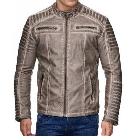 Fashionable men's beige faux leather jacket M6037 BEIGE