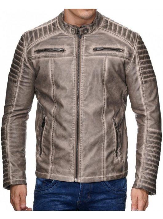 Divatos férfi bézs műbőr kabát M6037 BEIGE