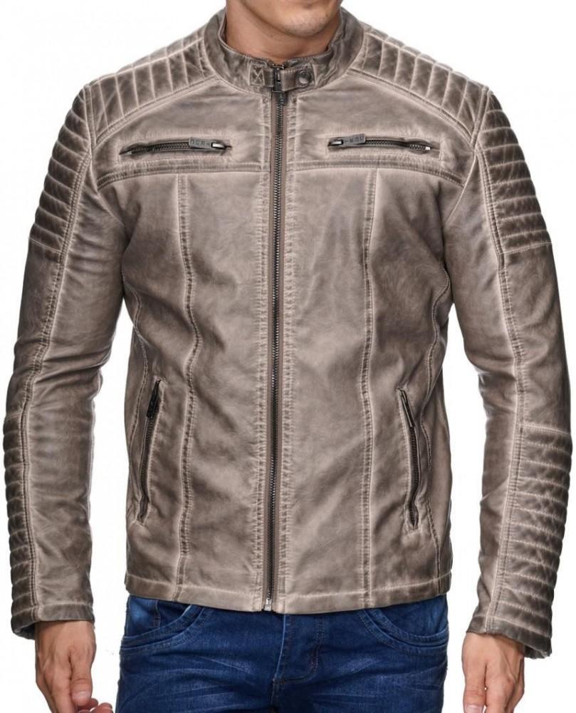 Divatos férfi bézs műbőr kabát M6037 BEIGE - Cipo Baxx Denim Brand ... e5affecd42
