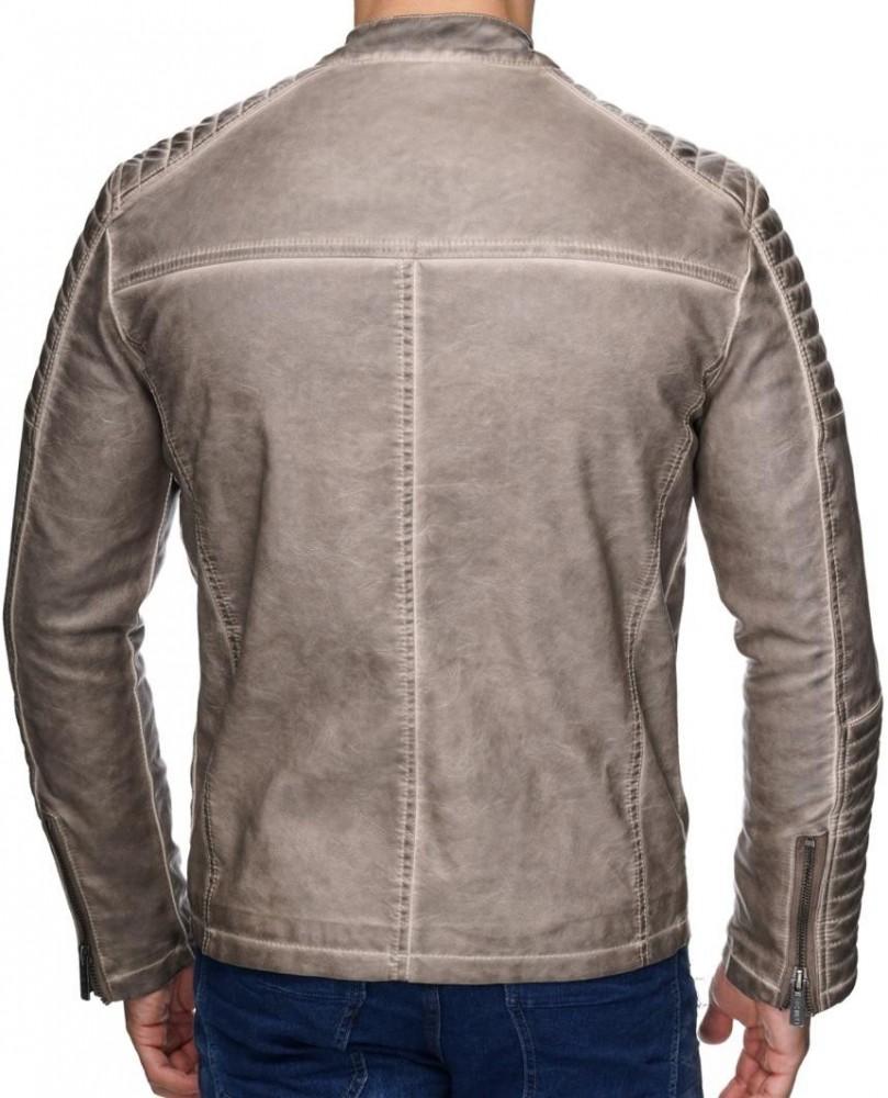 a23d53705b Divatos férfi bézs műbőr kabát M6037 BEIGE - Cipo & Baxx Márkabolt