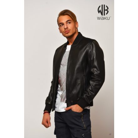 Waku-Genuine Leather Jacket WB101black