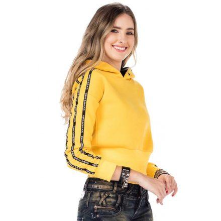 Cipo & Baxx divatos női kapucnis pulóver WL191YELLOW