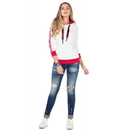 Cipo & Baxx divatos női kapucnis pulóver WL192ECRU