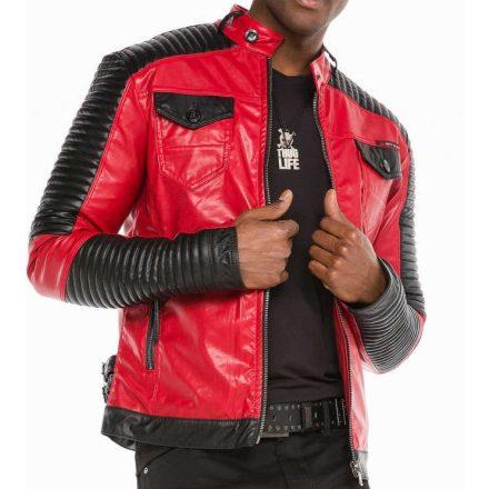 Cipo & Baxx divatos műbőr kabát CJ244RED